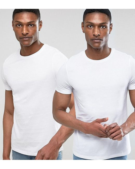 ASOS - White Tall T-shirt With Crew Neck 2 Pack Save for Men - Lyst