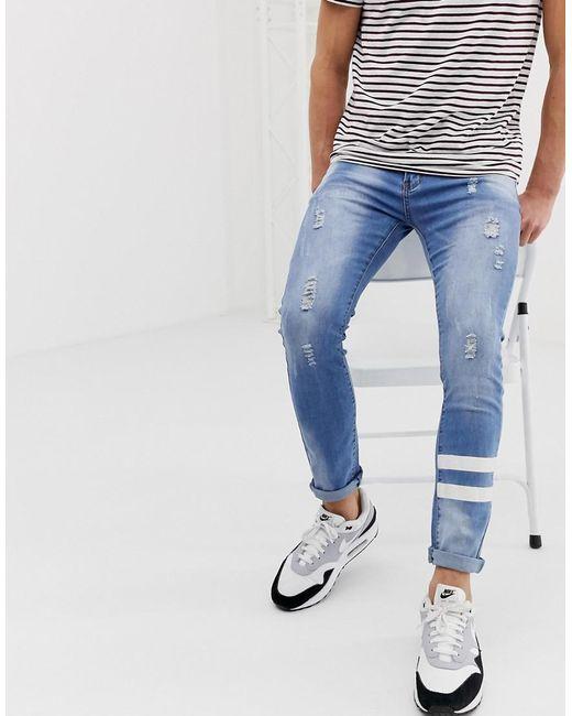 Liquor N Poker Blue Skinny Jean With Paint Stripes for men
