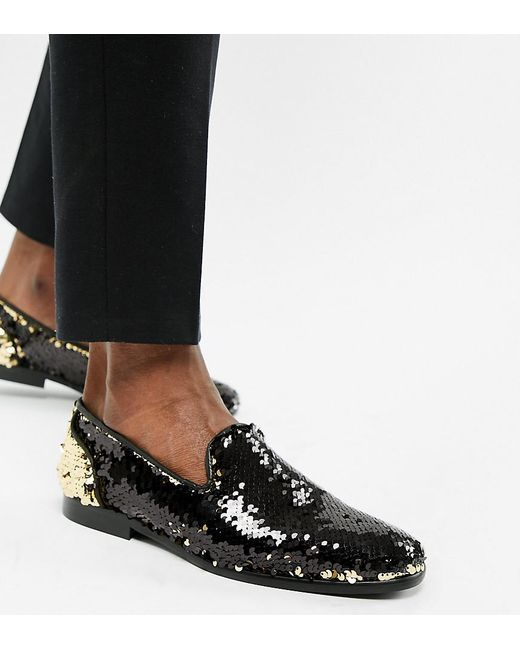 ASOS - Multicolor Loafers In Reversible Sequin Gold To Black for Men - Lyst