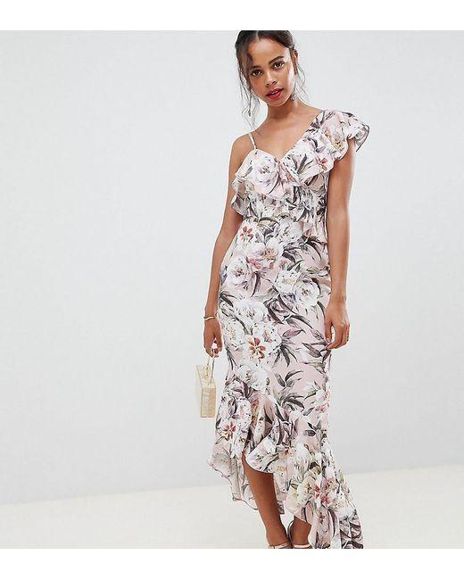 ASOS - Multicolor Asos Design Petite Pretty Light Floral Print Ruffle Maxi Dress - Lyst