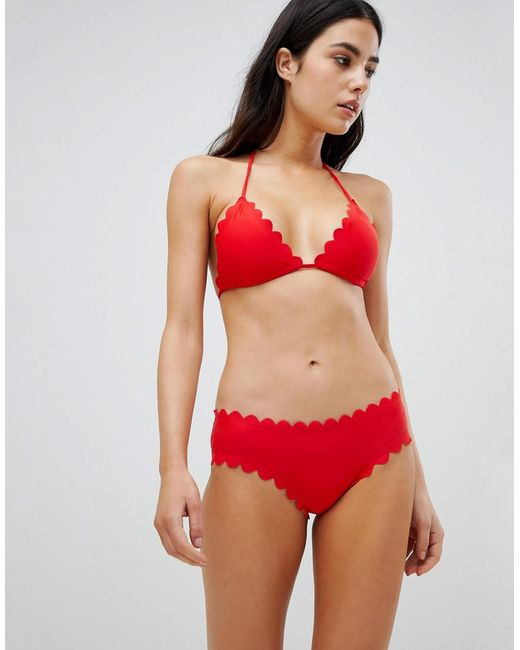 Mix And Match Scallop Edge Bikini Bottom - Red South Beach Cheap Sale 2018 New Outlet Discount Authentic 2RatZCaS