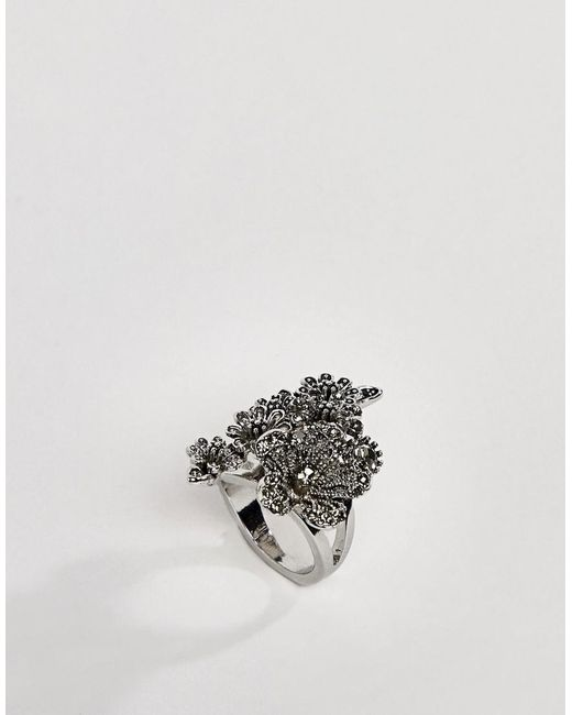 ASOS - Metallic Ring With Oversized Floral Detail In Silver - Lyst