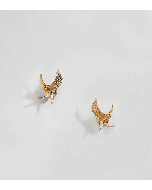 Bill Skinner - Metallic Gold Plated Swallow Stud Earrings - Lyst