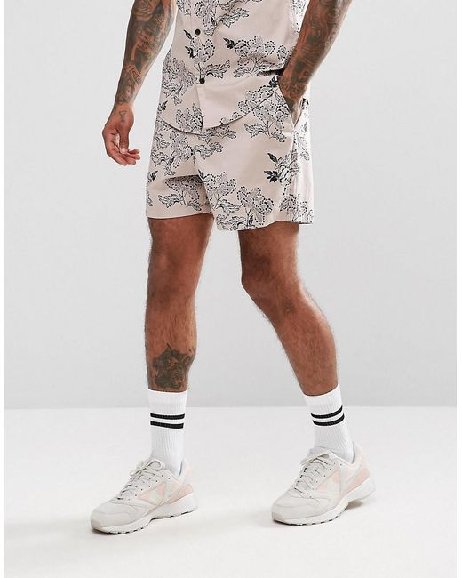 ASOS | Co-ord Slim Shorts With Peony Print In Pink for Men | Lyst