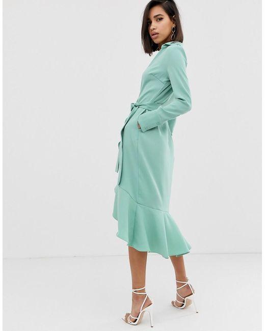 e9780f308 ... Lavish Alice - Green Frill Hem Wrap Front Midi Dress In Sage - Lyst