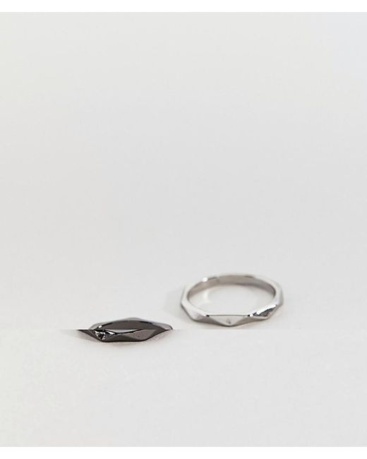 ASOS | Black Ring Pack With Spike Design In Silver And Gunmetal | Lyst