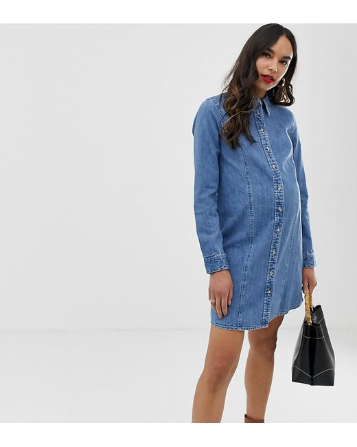 51f000f0 ASOS - Asos Design Maternity Denim Fitted Western Shirt Dress In Midwash  Blue - Lyst ...