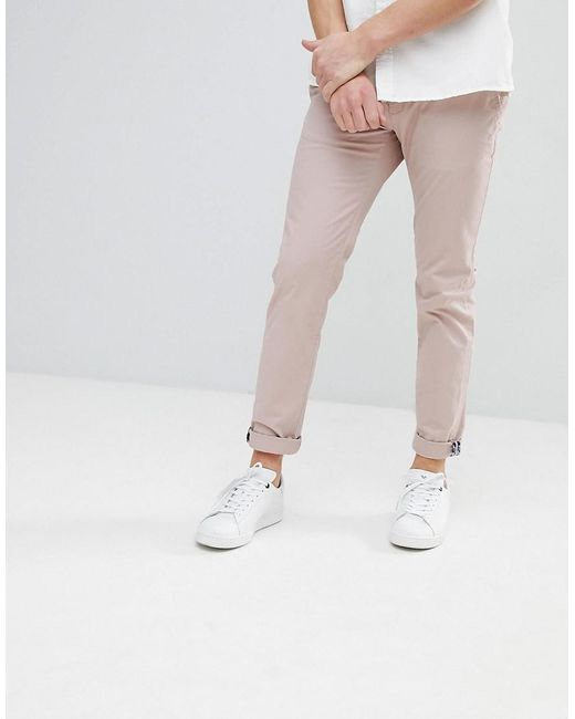Ted Baker - Pink Slim Fit Chino In Beige for Men - Lyst