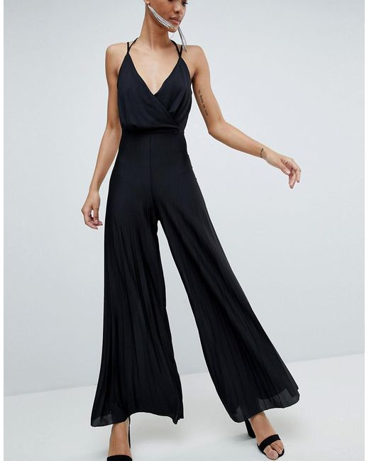 DESIGN Jersey Jumpsuit With Blouson Drape Bodice And Pleated Wide Leg - Black Asos Cheap Sale Top Quality For Cheap Cheap Online Purchase For Sale Comfortable 4iBbjGK