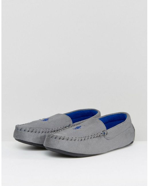 aa99c66b1 ... Ralph Lauren - Gray Dezi Moccasin Slippers for Men - Lyst