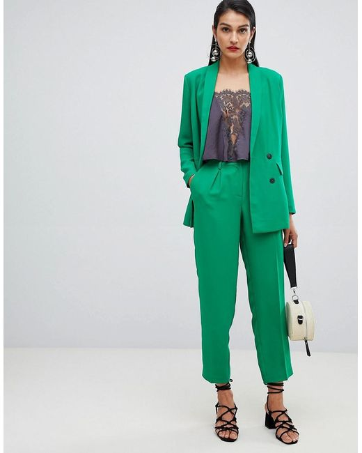 SELECTED - Green Femme Double Breasted Cigarette Pants - Lyst