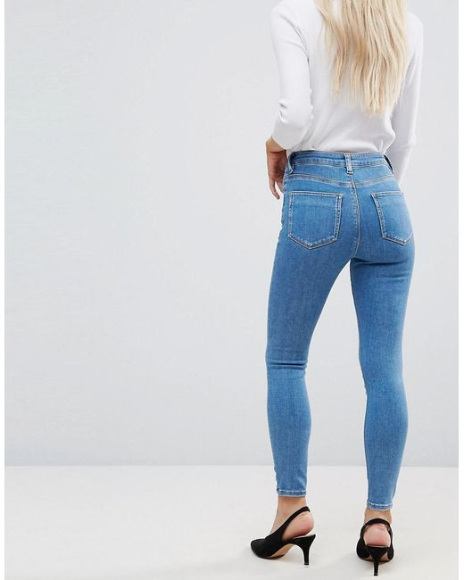 Cheap Sale Great Deals Stockist Online ASOS DESIGN Petite Ridley high waist skinny jeans in light wash - Lily pretty mid wash Asos Petite Clearance For Cheap 4Wr14x91Ba