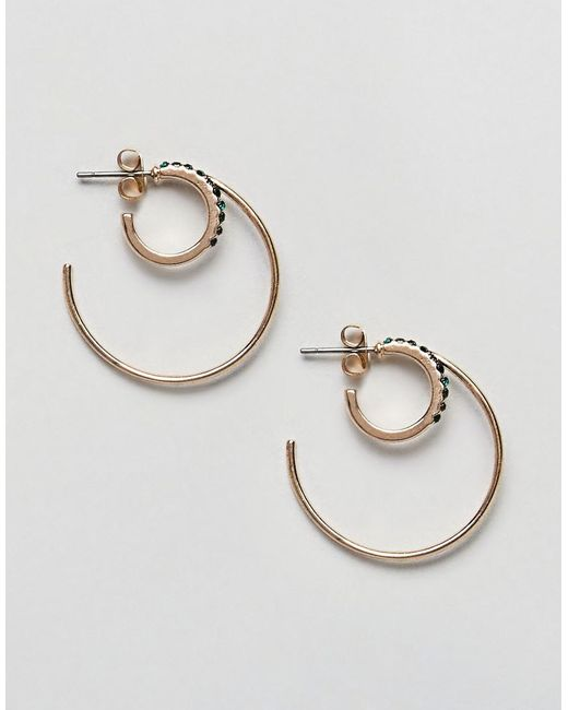 Pieces | Metallic Round Double Earrings | Lyst