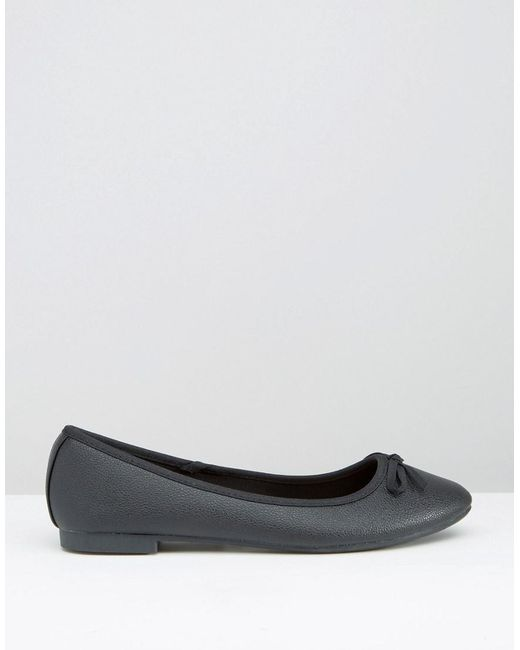 013a1eace2bfa0 Lyst - New Look Leather Look Ballet Pump in Black
