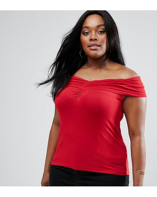 ASOS - Red Off Shoulder Top With Ruched Detail - Lyst