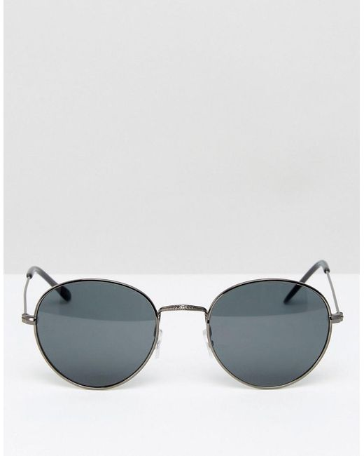 6a19c10b8 ASOS Metal Round Sunglasses In Gunmetal in Gray for Men - Lyst