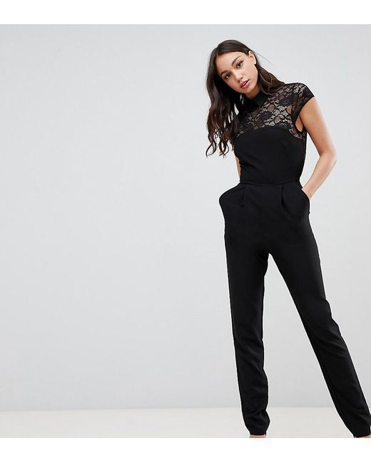 991d60792884 ASOS - Pink Asos Design Tall Lace Top Jumpsuit With Collar - Lyst ...