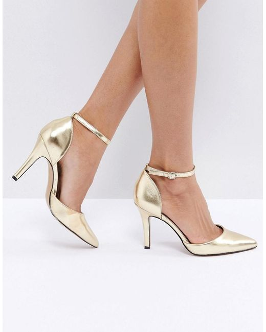 True Decadence | Metallic Strap Point Gold Heeled Shoes | Lyst