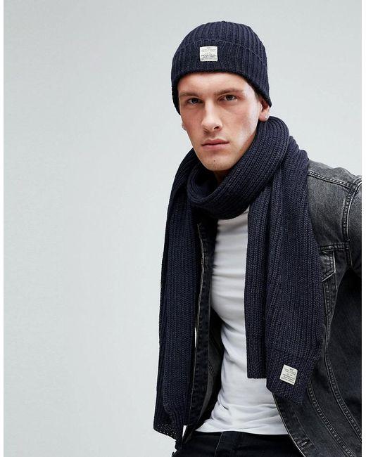 Jack & Jones - Blue Hat & Scarf Set for Men - Lyst