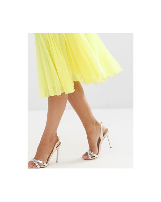 asos pleated midi skirt in yellow lyst