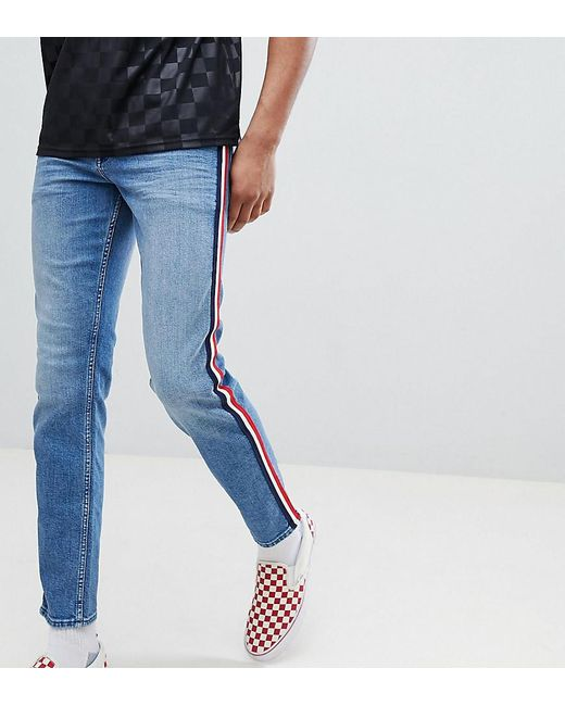 f74a65c370ba ASOS - Tall Slim Jeans In Mid Wash Blue With White Side Stripe for Men ...