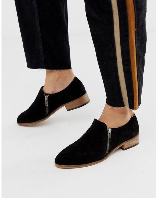 8a0e236e48bd ASOS - Black Moorgate Suede Slip On Flat Shoes - Lyst ...