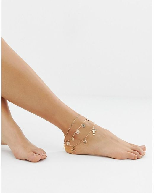 Missguided - Metallic Charm Layered Anklet In Gold - Lyst
