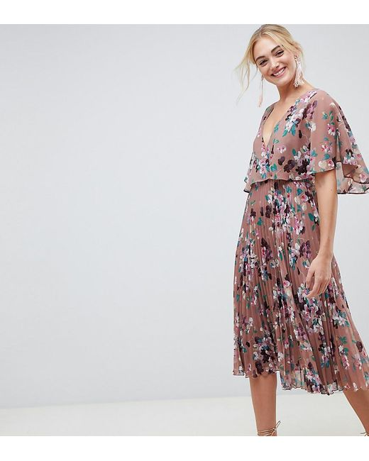 c705dbb3c3 ASOS - Multicolor Asos Design Tall Flutter Sleeve Midi Dress With Pleat  Skirt In Floral Print ...
