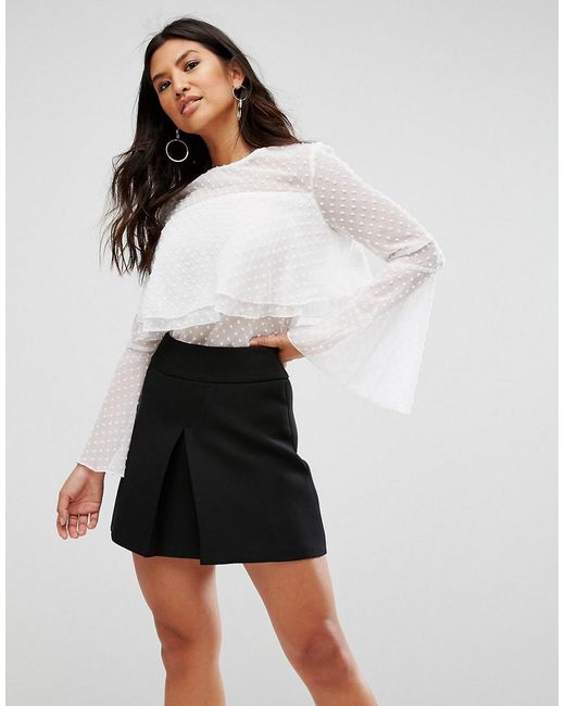Girl In Mind | White Polka Frill Top | Lyst