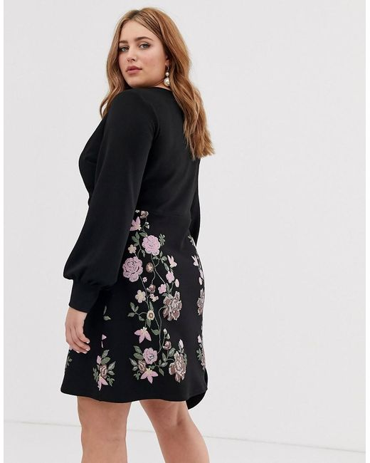 fa836f6195f ... ASOS - Black Asos Design Curve Puff Print Mini Pencil Dress - Lyst