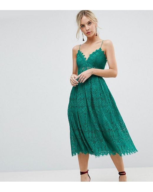 Lyst - Asos Lace Cami Midi Prom Dress in Green