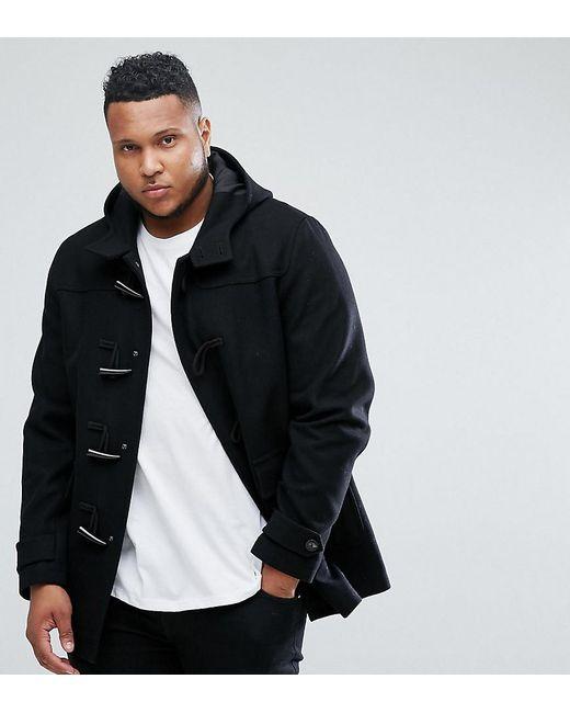 ASOS - Plus Wool Mix Duffle Coat In Black for Men - Lyst