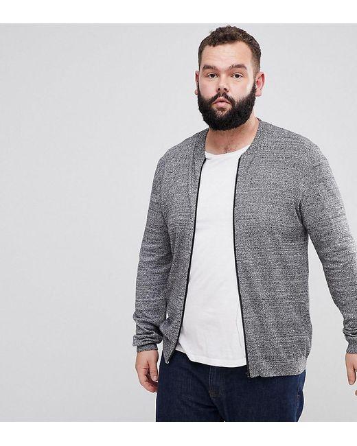ASOS DESIGN - Asos Plus Knitted Cotton Bomber In Gray Twist for Men - Lyst