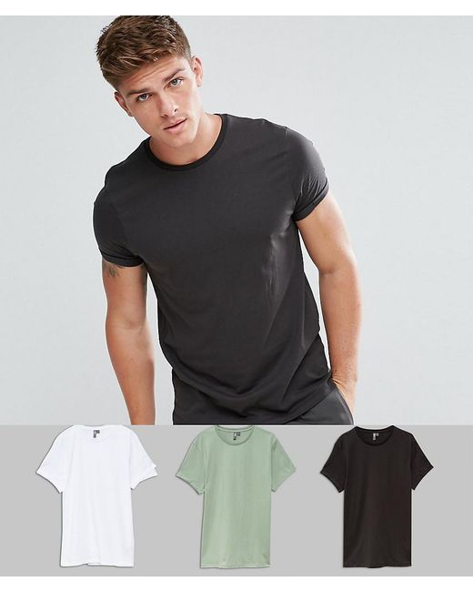 ASOS - Black T-shirt With Roll Sleeve 3 Pack Save for Men - Lyst