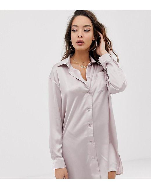 4dd4690f65 ASOS - Gray Satin Boyfriend Shirt Dress - Lyst ...