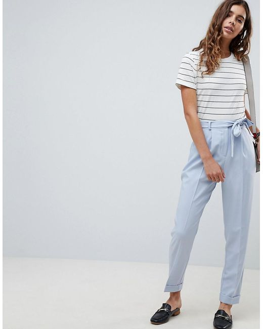 ASOS - Blue Design Woven Peg Pants With Obi Tie - Lyst