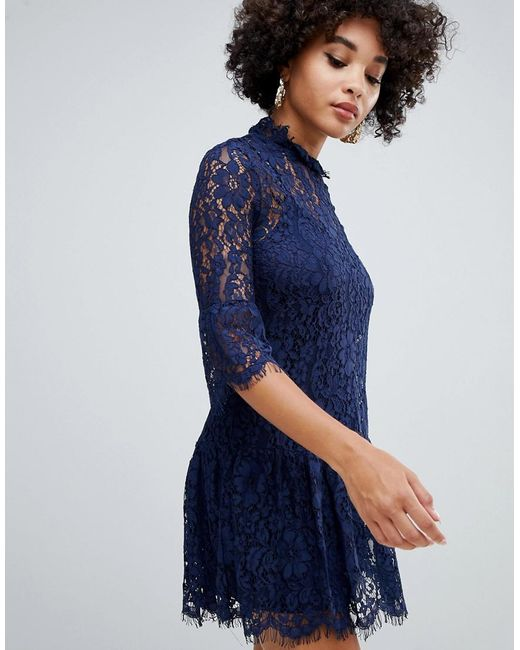 3a110fd314b Missguided - Blue Lace Frill Detail Shift Dress In Navy - Lyst ...