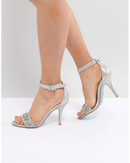 Betsey Johnson - Metallic Blue By Betsy Johnson Silver Embellished Heeled Wedding Sandals - Lyst