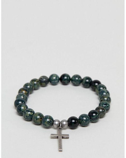 Seven London - Green Beaded Bracelet With Cross Charm for Men - Lyst