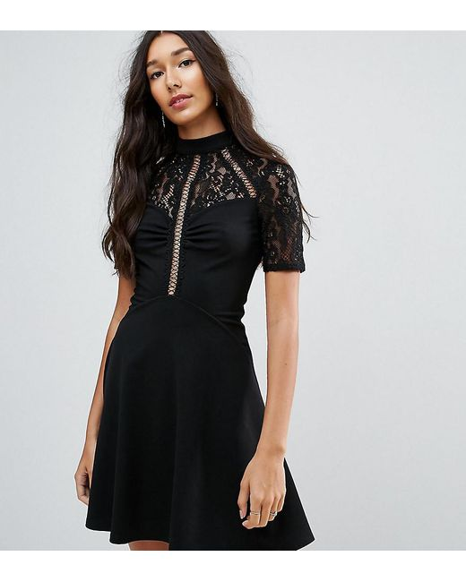 ASOS - Black High Neck Skater Dress With Lace Panel - Lyst