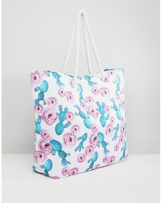 Blue Geo Print Canvas Tote with Knotted Rope Handles - Multi South Beach PuBb4WN