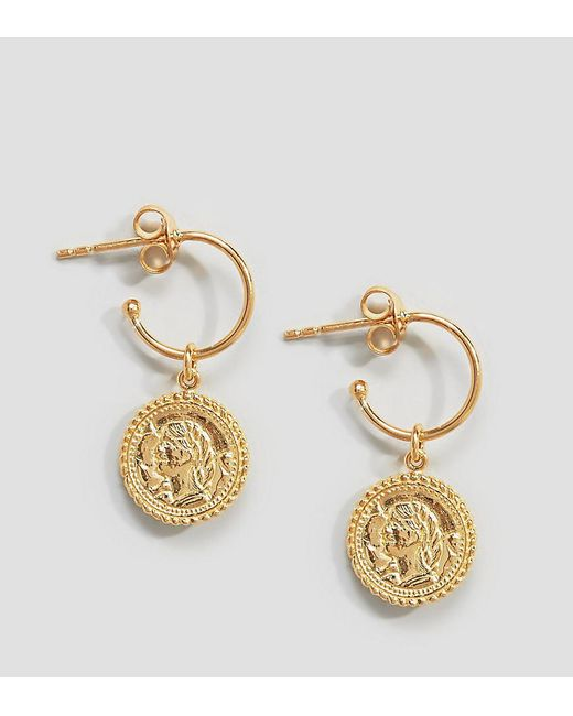 Asos Metallic Gold Plated Sterling Silver Vintage Style Coin Charm Hoop Earrings Lyst
