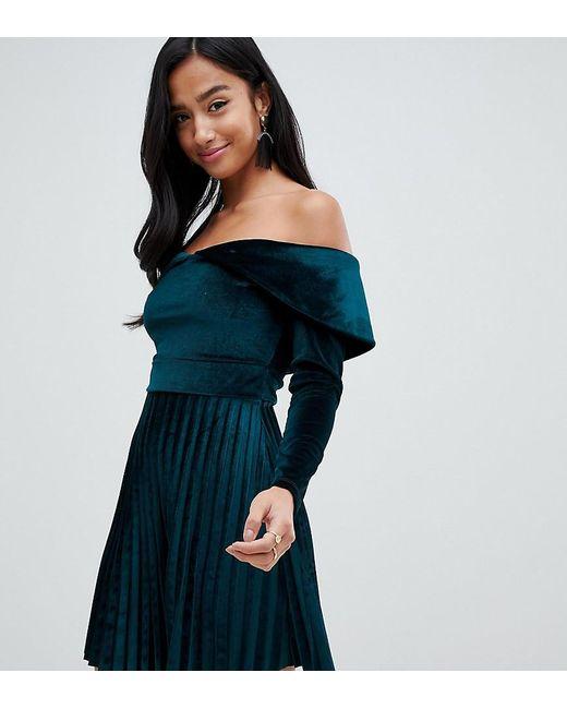 c42cf96d132 ASOS - Green Asos Design Petite Pleated Velvet Bardot Mini Dress - Lyst ...