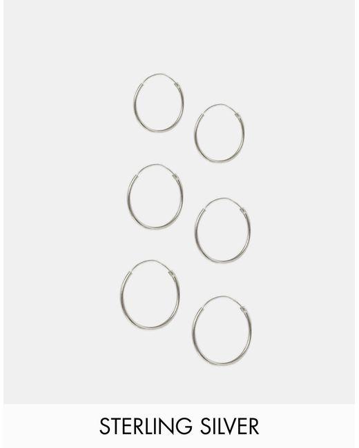 ASOS   Metallic Pack Of 6 Sterling Silver Hoop Earrings - Silver   Lyst