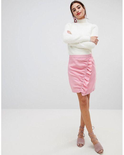 0dc61182b1 NA-KD - Pink Side Frill Mini Skirt - Lyst ...