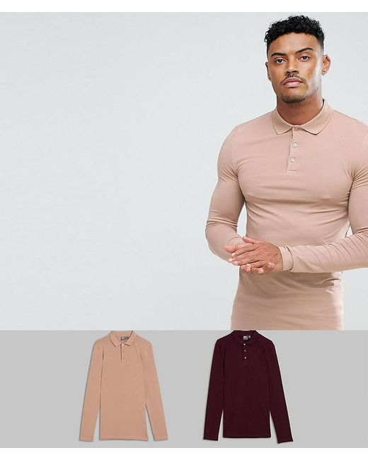 ASOS DESIGN - Multicolor Muscle Fit Long Sleeve Jersey Polo 2 Pack Save for Men - Lyst
