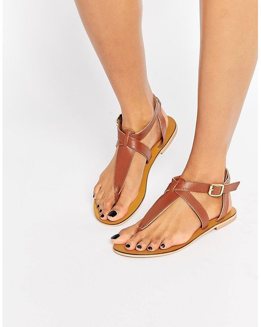 Warehouse Toe Post Flat Sandals In Brown Tan Lyst