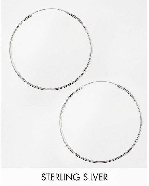 ASOS | Metallic Sterling Silver 60mm Hoop Earrings | Lyst