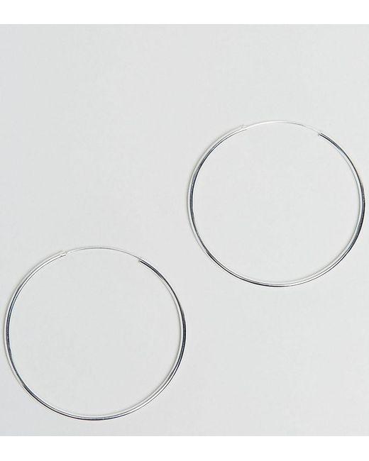 ASOS | Metallic Sterling Silver 60mm Hoop Earrings | Lyst