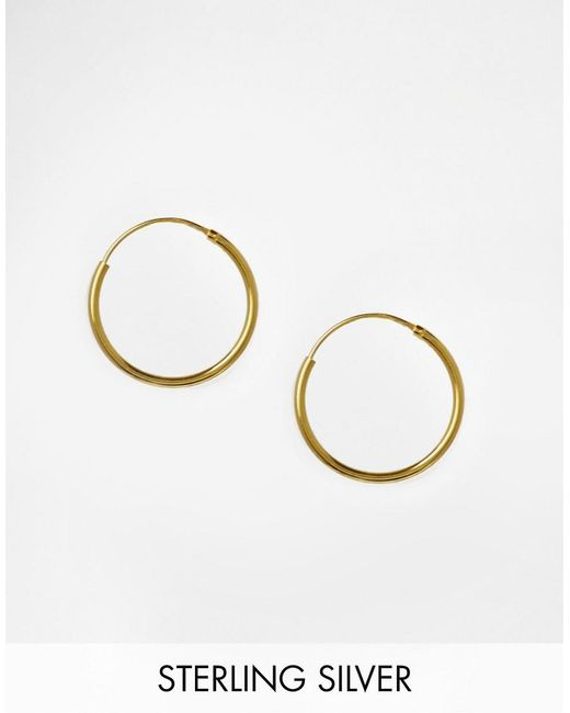 ASOS | Metallic Gold Plated Sterling Silver 20mm Hoop Earrings | Lyst